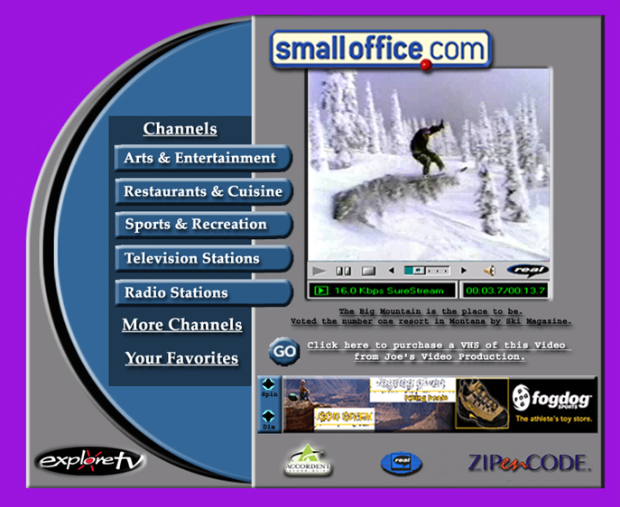 Exploretv dial up video player for local yellow page video samples